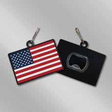 PVC-AF-ZPBO - Stock American flag PVC zipper pull bottle opener