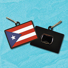PVC-PRF-ZPBO - Stock Puerto Rican flag PVC zipper pull bottle opener